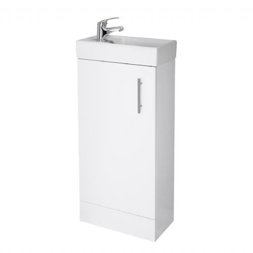 Minimalist 400mm White Gloss Floor Standing Cabinet & Basin